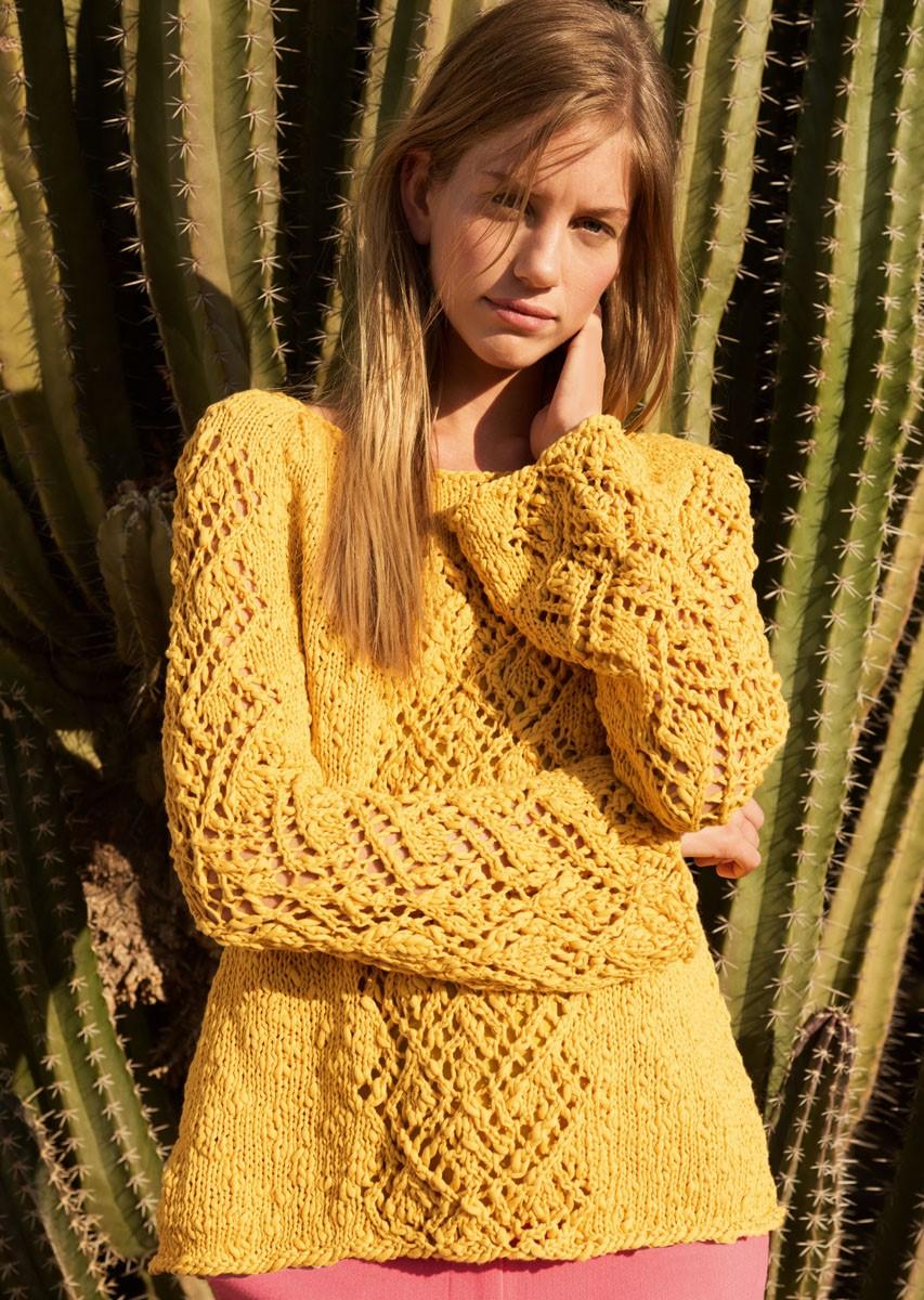 Lana Grossa RUNDPASSENPULLI MIT AJOURBORDÜREN Cotton Style