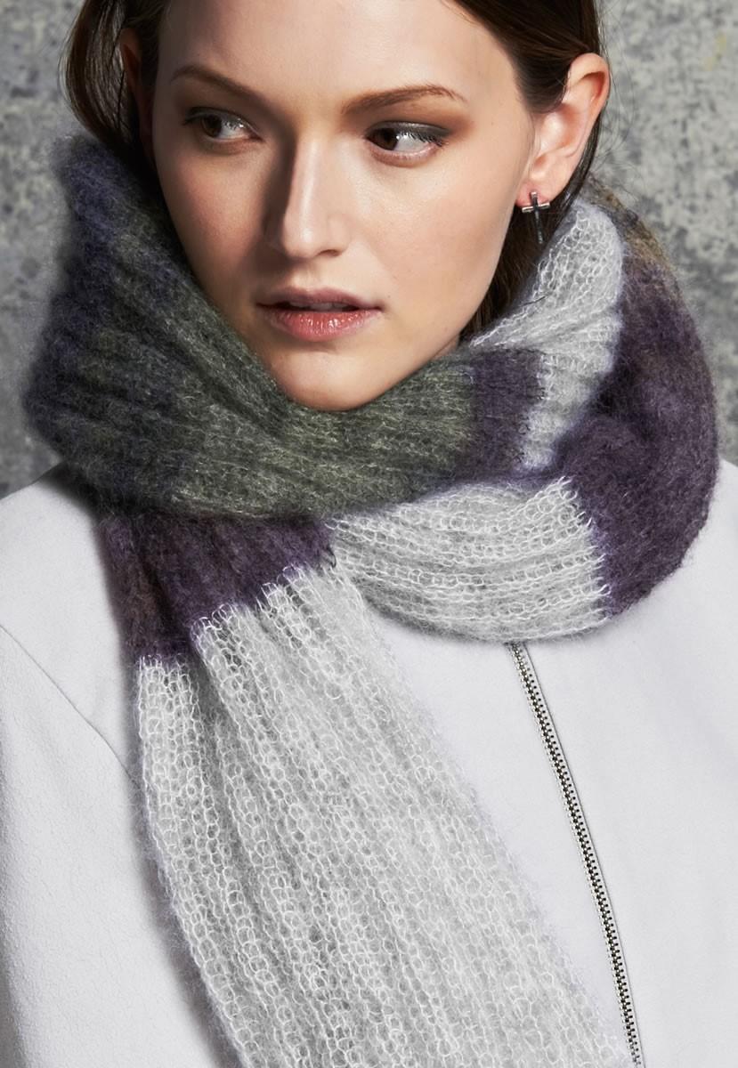 Lana Grossa RIPPENSCHAL IN BLOCKSTREIFEN MIT FRANSEN Silkhair melange/print