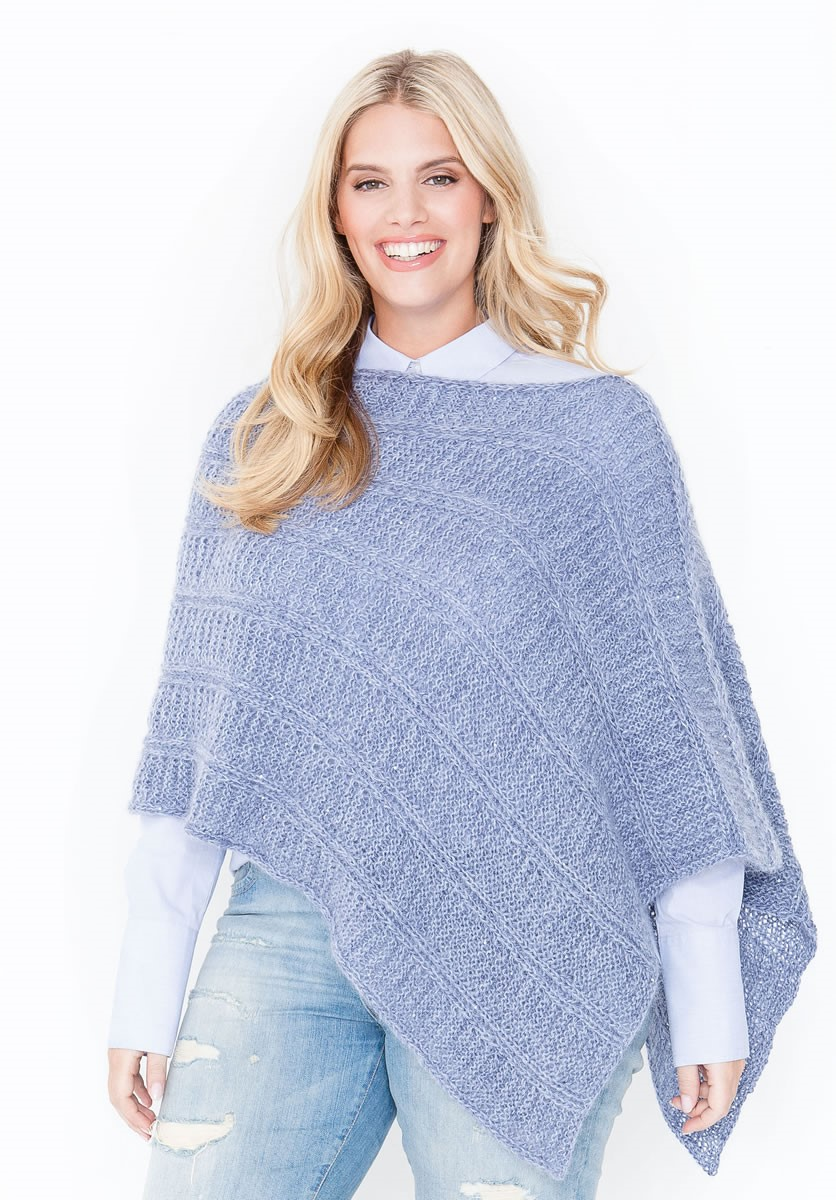 Lana Grossa PONCHO/TUCH IM QUERRIPPEN-PATENTMUSTER Lace Seta/Silkhair Paillettes