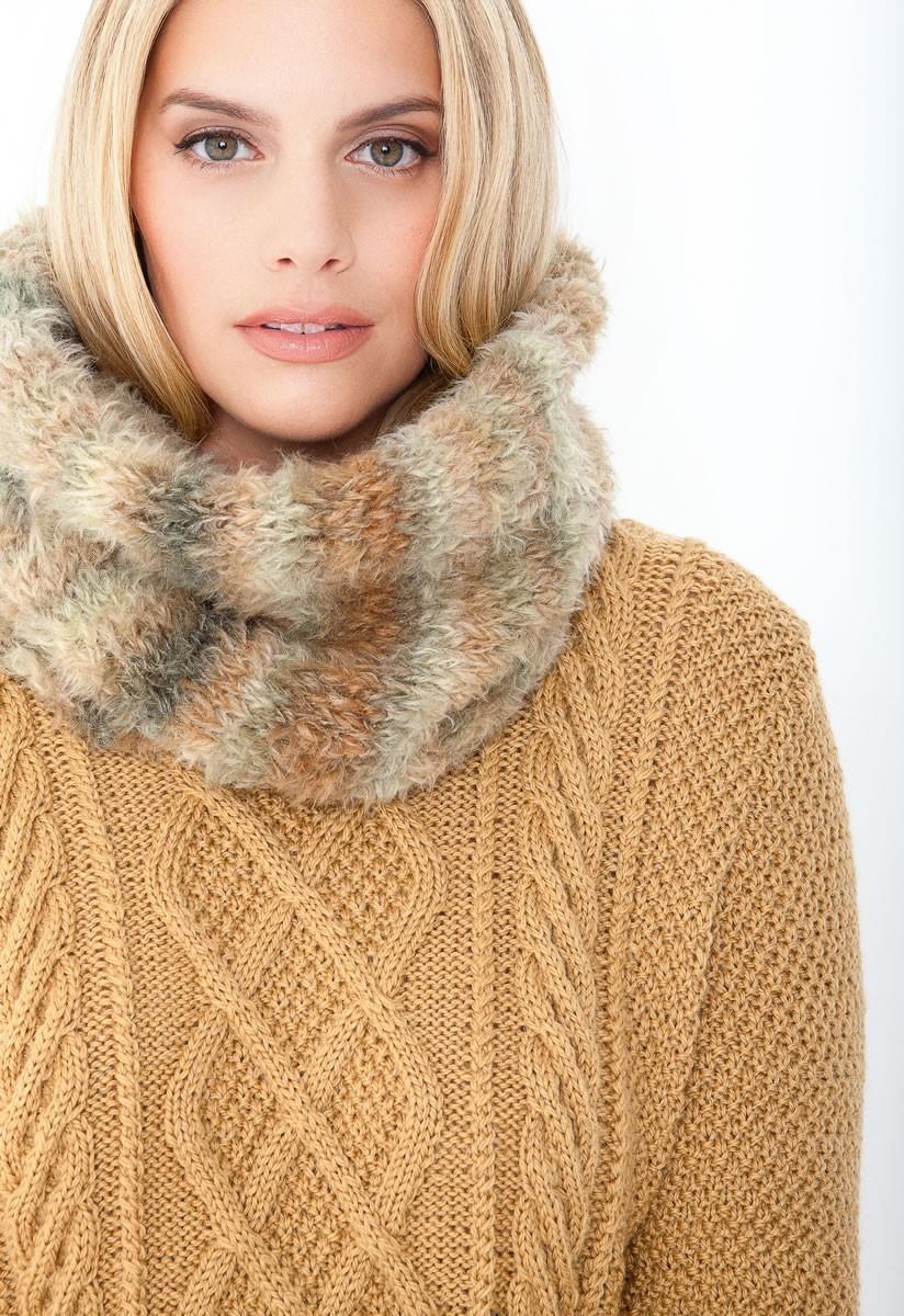 Lana Grossa PULLI IM PERLMUSTER MIT ARANMUSTER IM VORDERTEIL Cool Wool Alpaca
